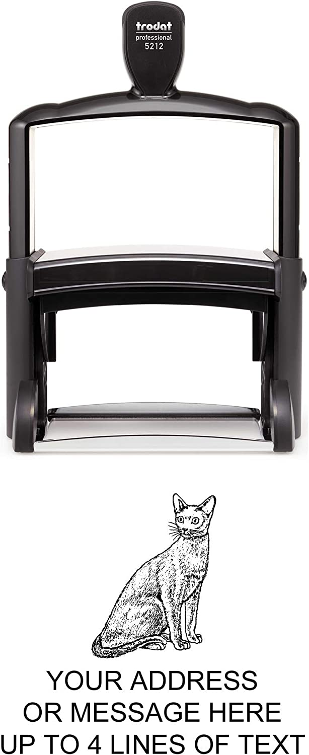 Russian Blue Cat Rubber Stamp Max 75% OFF – Heavy Self-Inking Giant - Time sale 2 Duty