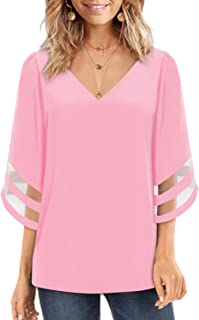c2040a47 Ranphee Women V Neck Blouse 3/4 Bell Sleeve Solid Color Tops Elegant T-