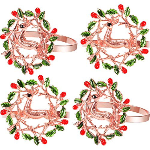 12 Pieces Christmas Napkin Rings Xmas Napkin Holder Ring Buckle Wreath Napkin Ring Elk Deer Napkin Ring Alloy Metal Napkin Ring for Christmas Thanksgiving Dinner Table Wedding Decor (Rose Gold)