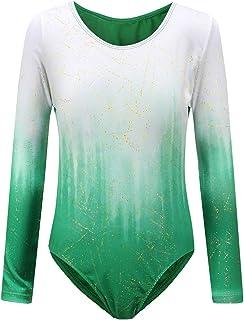 Sinoeem Gymnastikanzug Für Mädchen Ballett Kinder Langarm/Ärmellos Kurzarm Gradient Color Round Neck Turnanzug Für 3-12 Jähriges Mädchen