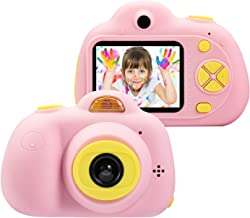 omzer Kids Camera Gifts for 4-8 Year Old Girls, Shockproof Cameras Great Gift Mini Child Camcorder for Little Girl with Soft Silicone Shell for Outdoor Play,Pink(16G SD Card Included)
