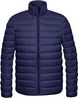 Wantdo Men`s Packable Down Jacket Stand Collar Lightweight Winter Puffer Coat