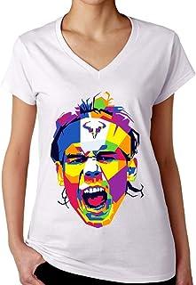 ShutUp Co. Rafa Art Camiseta con Cuello de Pico para Mujer
