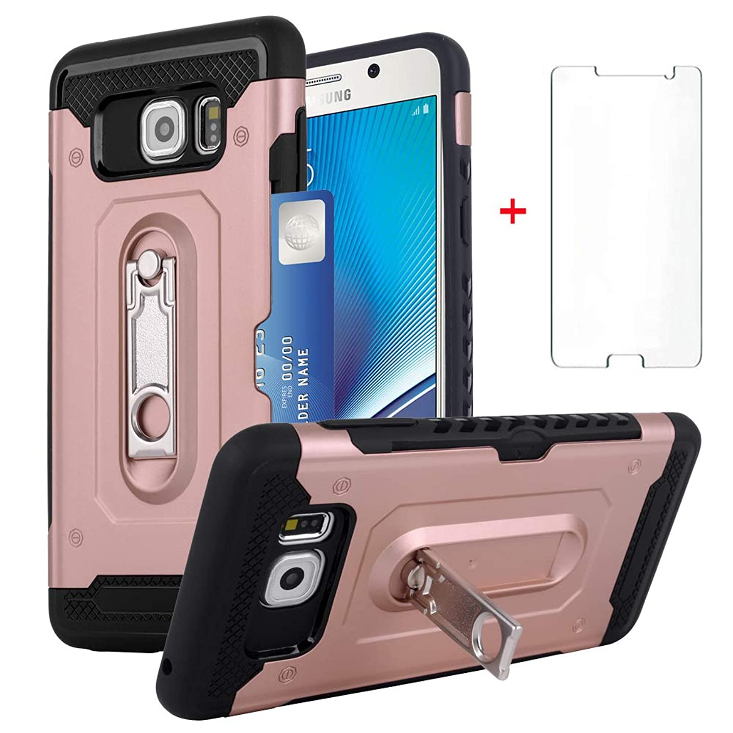 Samsung Galaxy Note 5 Wallet Phone Case Women Girls Slim Heavy Duty Silicone Protective Hard Cover with Tempered Glass Screen Protector Credit Card Holder Slot Stand Kickstand for Note5 Pink Rose Gold