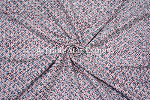 3M indio mano impresión de bloque Tela, 100% algodón gasa Tela de tinte natural para Manualidades, Fabricación de vestido de coser tela por metro, la Pattern 6