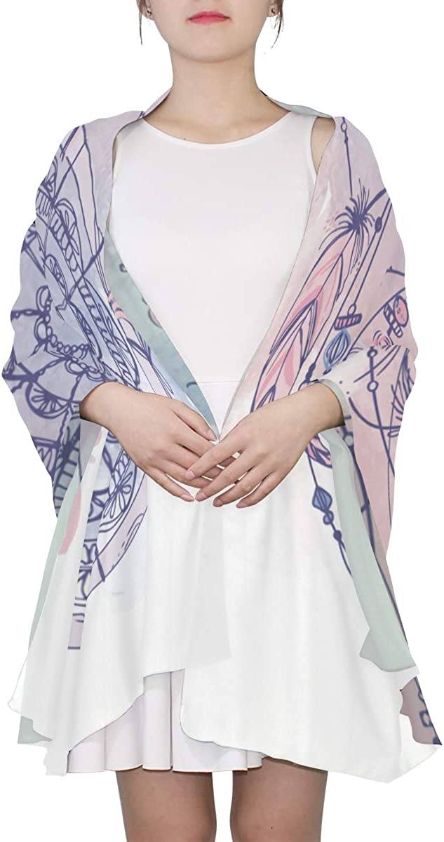 Dreamcatcher Feathers And Beads Unique Fashion Scarf For Women Lightweight Fashion Fall Winter Print Scarves Shawl Wraps Gifts For Early Spring