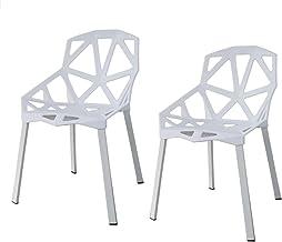 同色2脚セット アウトレット ジェネリックチェア チェアー カフェ 椅子 イス ダイニングチェア ガーデンチェア 屋外用 INK-S127 タートルシリーズ (ホワイト)