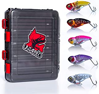 Untapped fishing Premium Fishing Lures for Bass 6pc Ultra Lure kit Comes with a Bonus Double Sided Tackle Box. Hard Metal Spinner Bait kit Alternative