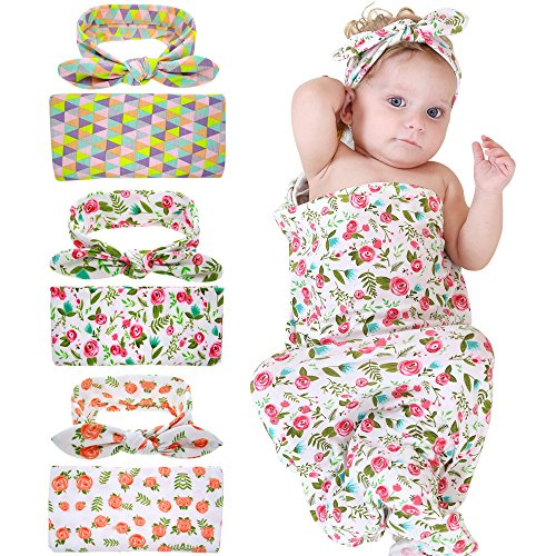 Bigface Up Swaddle Sack,Newborn Baby Sleep Blanket with Headband (3 Sets)