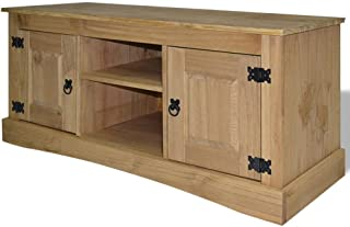 H.BETTER Pinewood TV Stand with 2 Cabinets and 2 Compartments Entertainment Center TV Cabinet 47.2