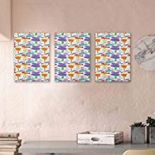"""Music Hand-Painted Oil Painting Canvas Colorful Instruments Bass Guitar Rock Microphone Trumpet Saxophone Jazz Party Theme Artwork Framed for Home Decor bar Coffee Shop, 24""""x35"""" x3 Pcs Multicolor"""