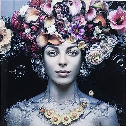 Kare Design Bild Glas Flower Art Lady 80x80cm, Glasbild Frau mit Blumen, modernes Glasbild