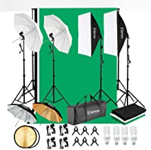 Kshioe 800W 5500K Umbrellas Softbox Continuous Lighting Kit with Backdrop Support System for Photo Studio Product, Portrai...