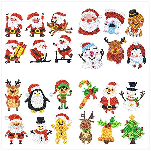Tino Kino 24 Pcs 5D Diamond Painting Stickers Kits for Kids Children, Santa Claus&Christmas TreePattern Animal Diamond Stickers by Numbers - Christmas Theme