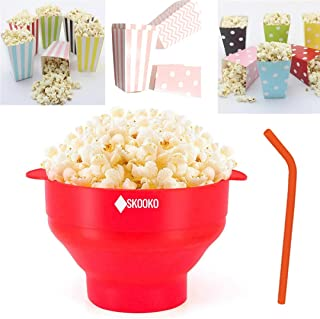 Microwave Popcorn Popper Bowl | + BONUS GIFTS : 6 popcorn bags + Reusable Silicone Straw & Cleaning Brush | Silicone Popco...