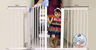 Kiddale Extra Wide, Auto Close, Baby Safety Gate (Barrier, Fence) for Baby Kids, Dogs, Pets, Infants(for Passage Width Between 154-164 cm) Height: 78cm-White with 4 Strong Wall Grippers