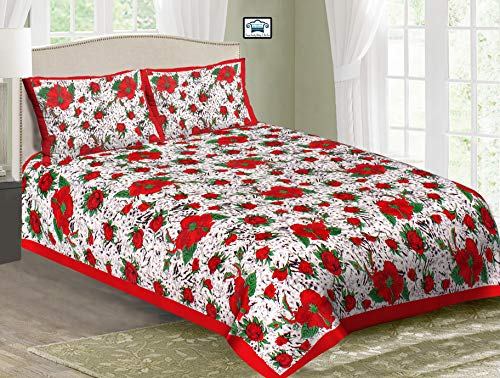 PURE COMFORT 100% Cotton Made in India Super King Size Double Bedsheet with 2 Pillow Covers