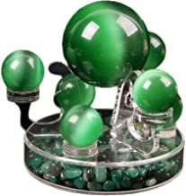 QTMY Natural Calcite Quartz Crystal Sphere Green Opal Ball Healing Gemstone with Stand Home Ornaments (Green Opal)
