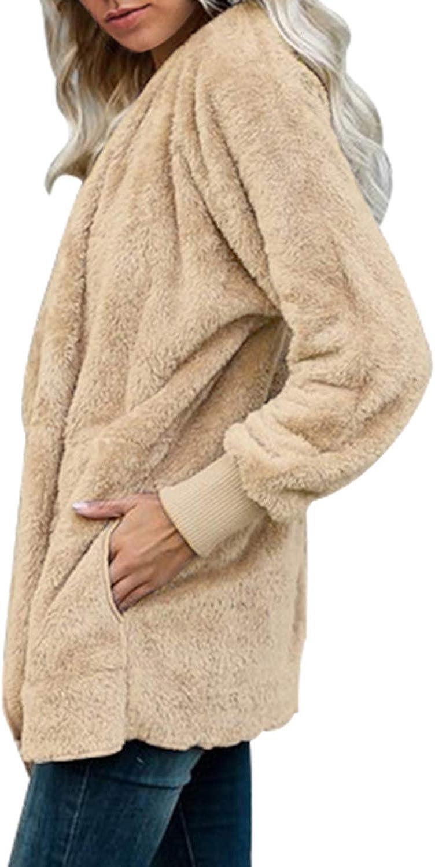 Chase Secret Damen Strickjacke mit Kapuze, langärmelig, einfarbig, vorne offen, Fleece-Jacke mit Tasche Z Schwarz