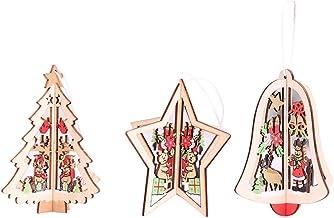 BESTOYARD 3pcs Wooden Christmas Tree Decorations Ornaments Hanging 3D Christmas Tree Jingle Bell Star Shapes Cutout