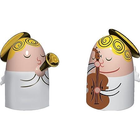 Alessi Amgi26 Set 1 Angels Band Set de deux Figurines en Porcelaine, decorées à la Main