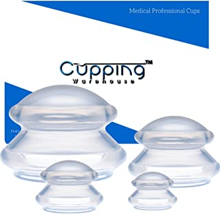 Cupping Warehouse TM Supreme DEEP PRO 6065 4 Cup (4 Sizes) Professional and Home Use Chinese Silicone Anti Cellulite Massage Cupping Therapy Sets Suction Cups for Joint, Pain, Muscles, Fascia, Lymph
