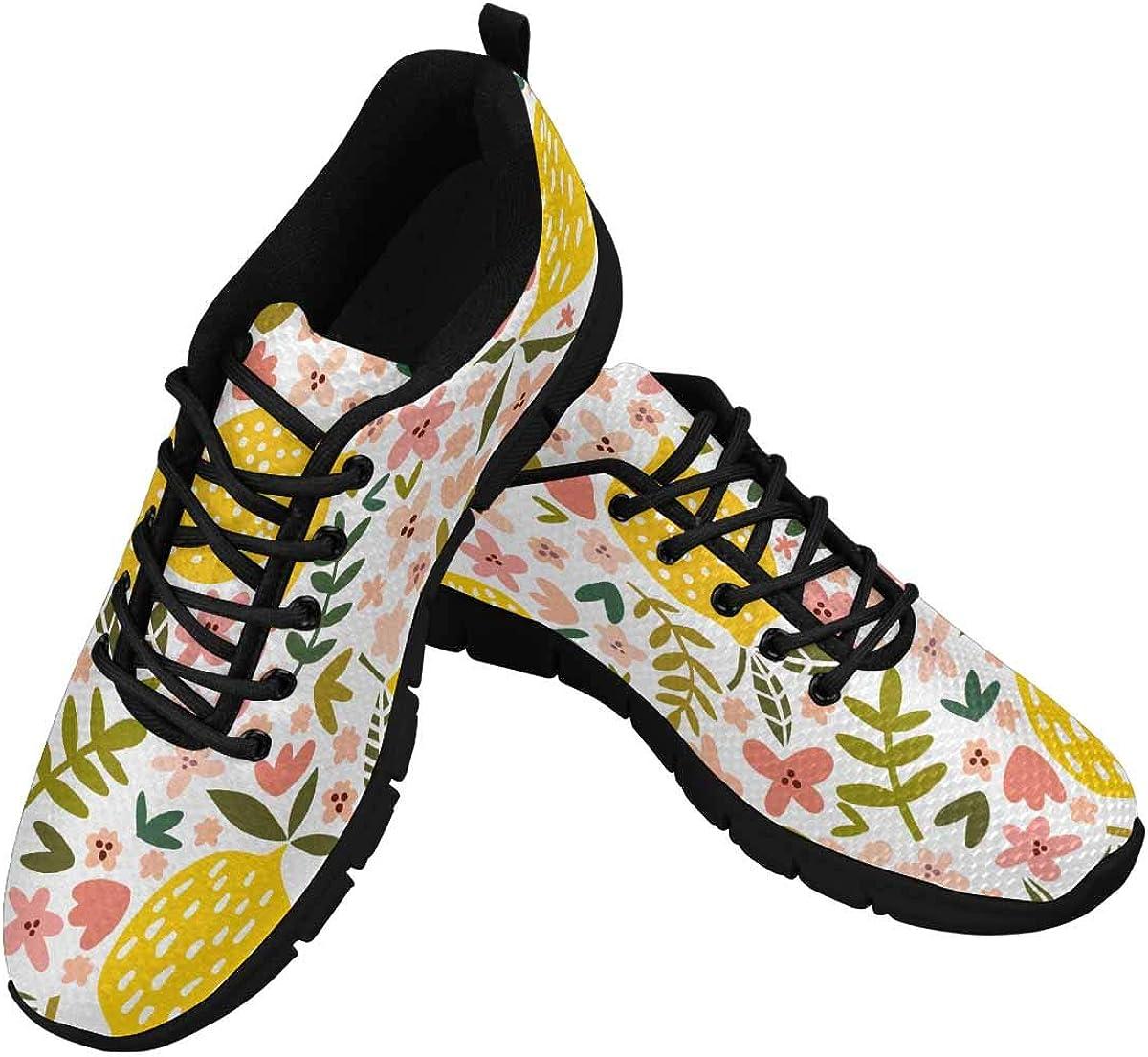 InterestPrint Flower and Lemon Pattern Women's Athletic Walking Shoes Comfort Mesh Non Slip