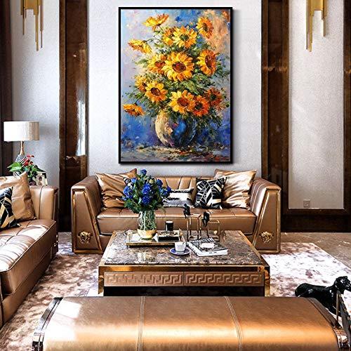 WSNDGWS Pintura al óleo de Girasol Pintura Decorativa Pintada a Mano Pintura de Sala de Estudio Pintura estéreo Vertical China americanaA3 40x50cm