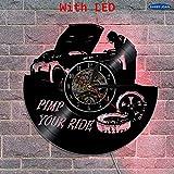 xcvbxcvb Repare el Reloj de Pared de Vinilo para automóvil Creativo Garaje Colgante de Pared Art Deco proxeneta su Reloj temático montado en la Pared con iluminación LED