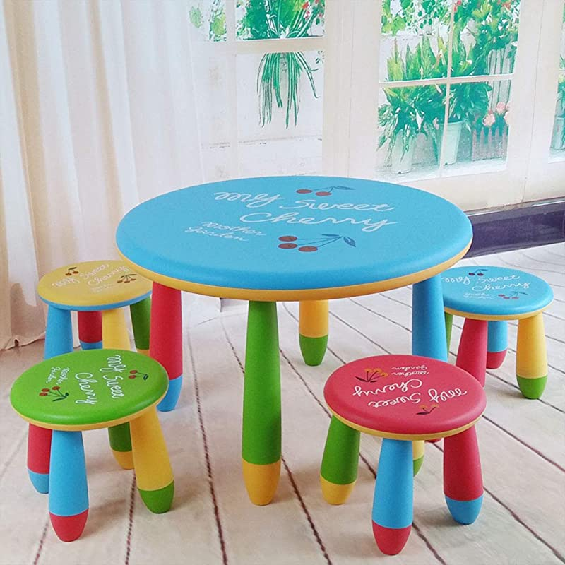 1 Table 4 Stools Children S Table And Chair Set Plastic Study Desk Round Dining Table Household Stool