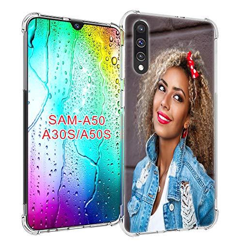 SHUMEI Carcasa personalizada para Samsung Galaxy A50 y Galaxy A50S y Galaxy A30S, regalo de fotos personalizado de absorción de golpes, cubierta de TPU transparente y suave para bricolaje HD Picture