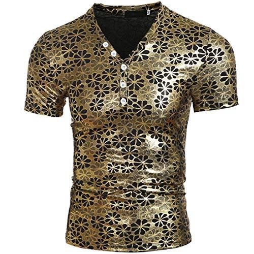 Camiseta Hombre Verano Hombres Manga Corta Creativo Brillante Estampado Botón Tapeta con Cuello En V Cordón Caballero Shirt Hombre Fiesta Club Nocturno Camiseta Casual Hombre A-Golden XL