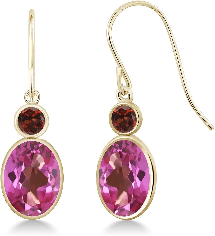 3.24 Ct Oval Pink Mystic Topaz Red Garnet 14K Yellow gold Earrings