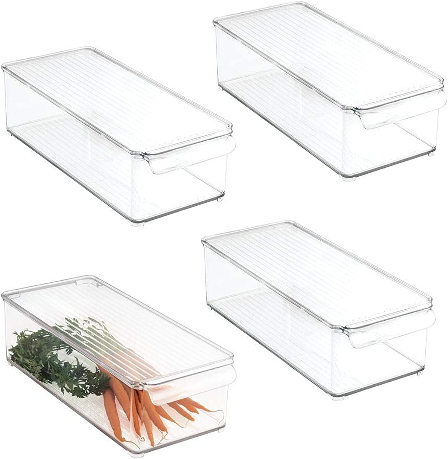 MDesign Plastic Food Storage Container Bin with Lid and Handle - for Kitchen, Pantry, Cabinet, Fridge Freezer - Organizer for Snacks, Produce, Vegetables, Pasta - 4 Pack, Clear
