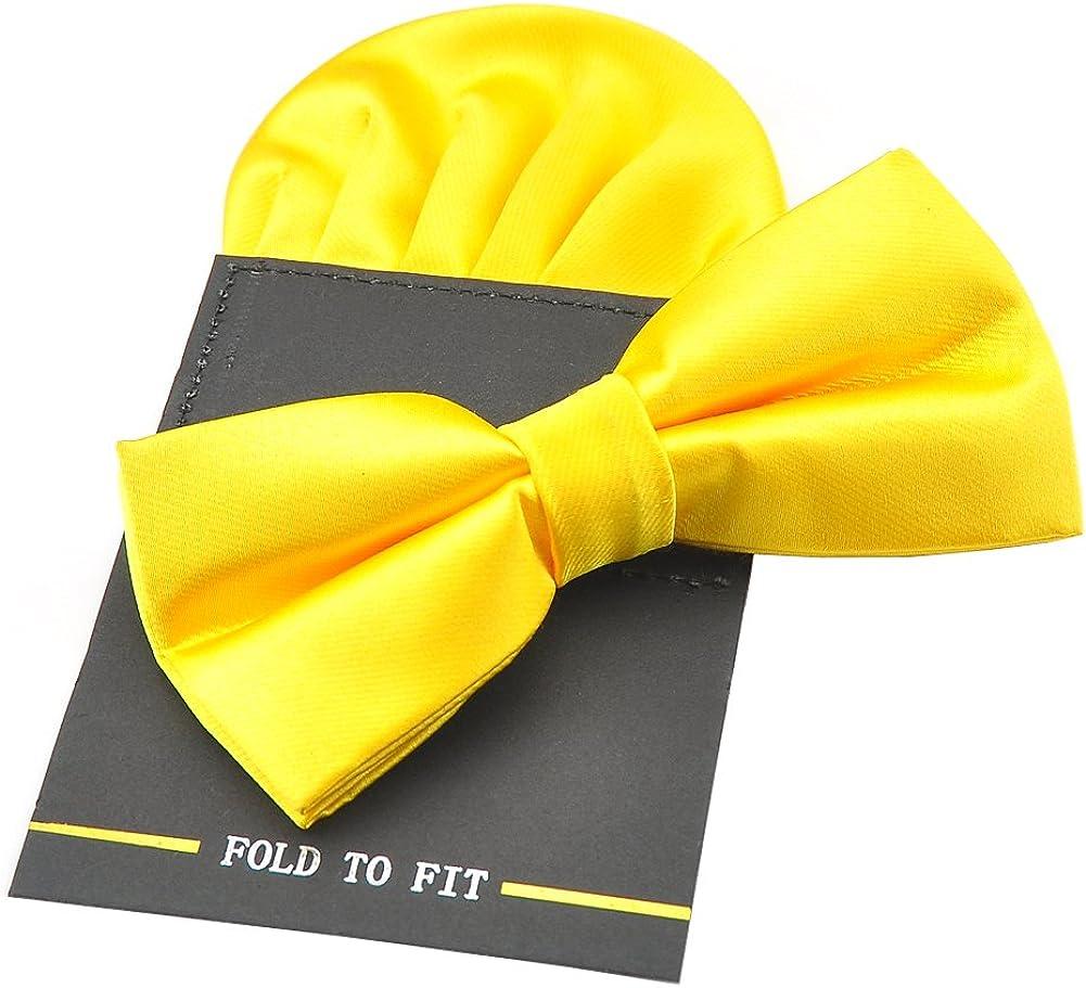 PenSee Mens Silk Solid Pre-Tied Bow Tie & Hanky Card Set