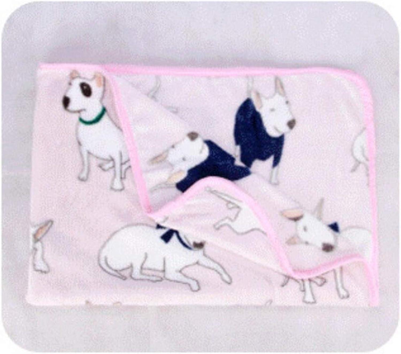CFHJN HOME Pet Dog Cat Carton Blanket Fleece Fabric Soft Breathable Cushion Sleep Mat(Pink) Pet Bed Blanket