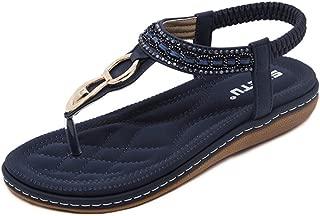 One.1 Women's Ankle Strap Sandals Summer Bohemian Diamond Flat Sandals Clip Toe Flats Flip Flops