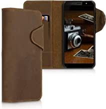 kalibri Wallet Case for HTC U12 Life - Genuine Leather Book Style Protective Cover with Card Slot - Brown