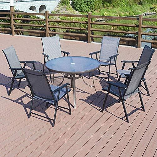 NBVCX Decoración de Muebles Mesas auxiliares Mesa Auxiliar Juego de Comedor de Patio de 7 Piezas - Muebles de jardín al Aire Libre de 6 plazas6 Sillas Plegables Terraza o balcón
