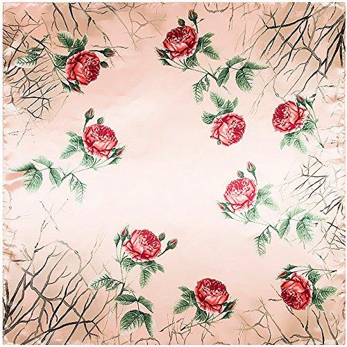 WEJNNI Imitatie zijden sjaal 90cm*90cm tak roos bloem dame bigsjaal