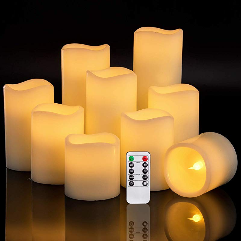 RY King Set Of 9 Large Pillar Real Wax Flameless LED Battery Operated Flickering Electric Candles With Timer And 10 Key Remote Control