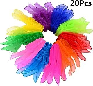 B•You Pañuelos de Baile,Pañuelo de Malabares 20 Piezas Pañuelos Mágicos de Seda y Pañuelo para Malabares Jardín de Infancia Show de Niños Danza del Vientre 10 Colores 24 por 24 Pulgadas