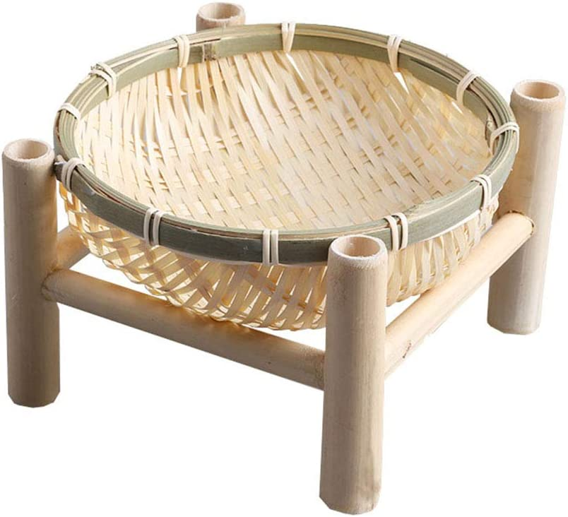 TimesFriend Rural Natural Mini Round Columbus Mall Basket Bamboo wit for Fruit Ranking TOP7
