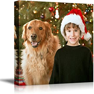 SIGNFORD Personalized Canvas Prints Cute Boy Christmas Pictures Customize Poster Wall Art with Your Own Pictures Wood Frame Digitally Printed-12x12inches