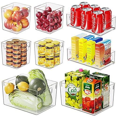 Kühlschrank Organizer, Fridge Organizer 8er Set(2 Große/2 Mittel/4 Kleine), Speisekammer Vorratsbehälter mit Griff, Stapelbar Kunststoff Aufbewahrungsbox Organizer für Küchen/Schränke -BPA Frei
