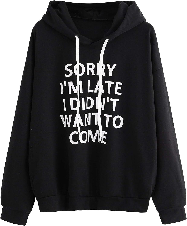 SweatyRocks Sweatshirt Women's Pullover Sweatshirt Letter Print Long Sleeve Hoodie