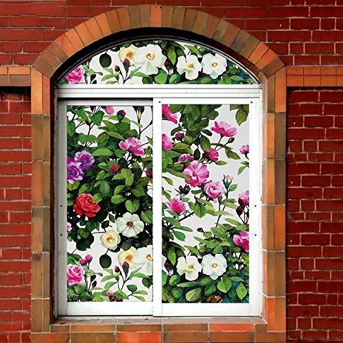 N / A Rose Blume Glas Aufkleber Private Fensterfolie Aufkleber statische Fenster Papier Badezimmertür transparent undurchsichtig Wohnkultur Film A7940x100cm