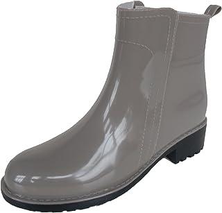 長靴 雨靴 完全防水 レインシューズ スリッポン シンプル ショート ハーフ ヒール 通勤 3色 レディース