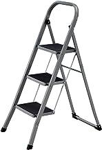 SONGMICS Klapbare treden met 3 treden, trapladder, ladder, 20 cm brede treden met anti-slip rubberen matten, anti-slip voe...
