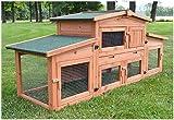 Zooprimus Cage Clapier lapin Extérieur en bois de pin Haute Qualité pour lapins 185x51x75cm - 037